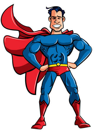 Carton superhero in classic pose. Isolated on white Vector