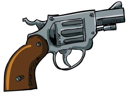 mano pistola: Illustrazione di un revolver naso camuso. Isolato su bianco