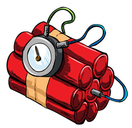 explosion risk: Illustration of dynamite with timing device. Isolated Illustration