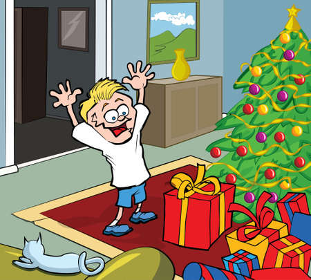 Cartoon kid on Christmas morning opening gifts by a Christmas tree