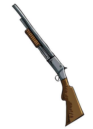 Hand drawn illustration of a shotgun. Isolated