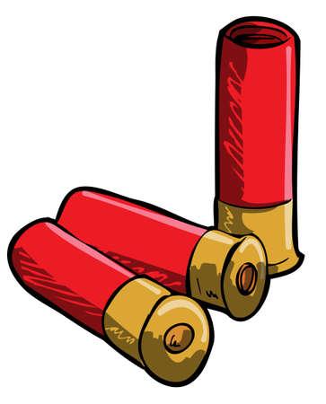 fusil de chasse: Tir�e par la main illustration de cartouches de fusil. Isol�es