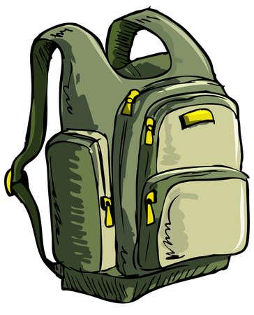 バックパック: バックパックのイラスト。1 つの白の分離