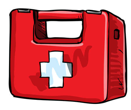first aid kit: Illustration of medic kit. Isolated on white