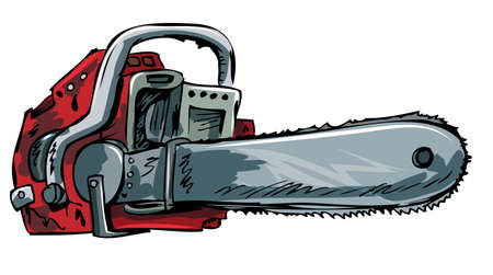 chain saw: Illustration of old chainsaw. Isolated on white Illustration