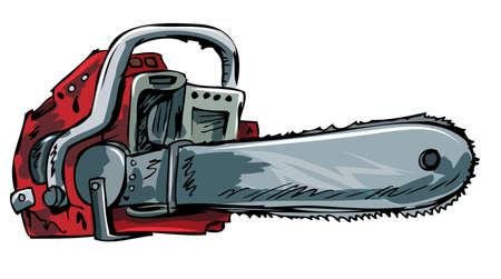 Ilustración de la motosierra de edad. Aislado en blanco Ilustración de vector