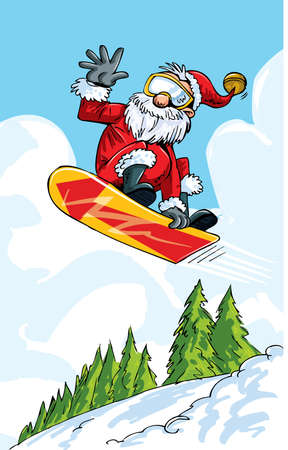 Cartoon Santa doing a jump on a snowboard. Winter scene behind