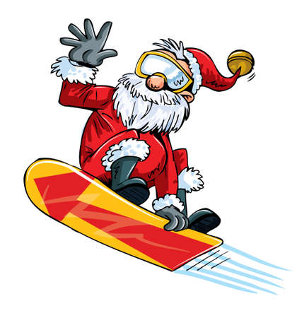 Cartoon Santa doing a jump on a snowboard. Isolated Vector