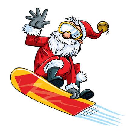 time fly: Cartoon Santa doing a jump on a snowboard. Isolated
