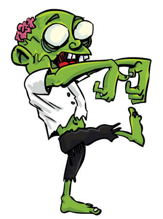 Cartoon zombie with exposed brain. Isolated on white Vector
