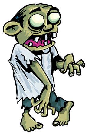 Dibujos animados zombis con el cerebro expuesto. Aislado en blanco