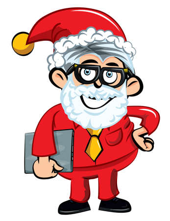 Cartoon Santa office worker. Isolated on white Stock Vector - 11578914