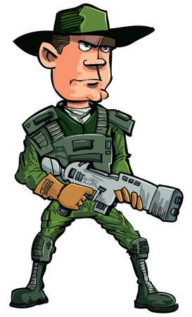 cartoon soldat: Karikatur-Soldat mit einem automatischen Gewehr. Isoliert auf weißem