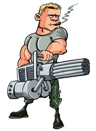 cartoon soldat: Karikatur-Soldat mit einem Mini-Pistole. Isoliert auf weißem Illustration