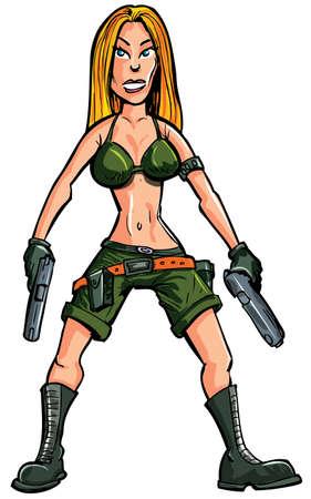 mujer soldado: Cartoon mujer soldado con dos armas de mano. Aislado en blanco