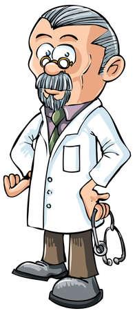 medico caricatura: Dibujos animados doctor en bata blanca. Aislado en blanco