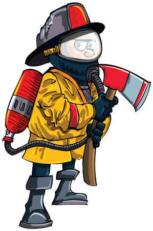 bombero de rojo: Cartoon bombero en una máscara con un hacha. Aislado en blanco