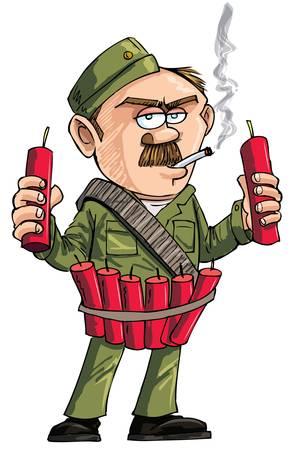 dinamita: Cartoon Sapper con cartuchos de dinamita. Aislado en blanco