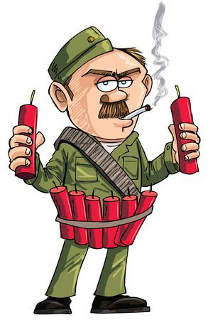 Cartoon Sapper with dynamite sticks. Isolated on white Vector