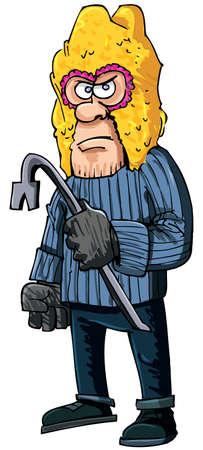 madman: Penal, con una barra de hierro que llevaba un pasamonta�as. Aislado en blanco Vectores