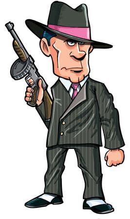 Cartoon 1920 gangster met een geïsoleerde machine geweer