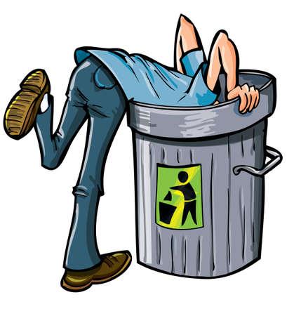 hombre pobre: El hombre en busca de profundidad en un cubo de basura Aislado