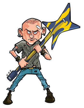 skinhead: Cartoon punk teen brandishing his guitar  Isolated