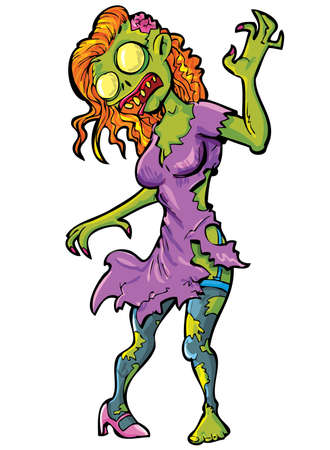 scary girl: Cartoon sexy female zombie  Isolated on white