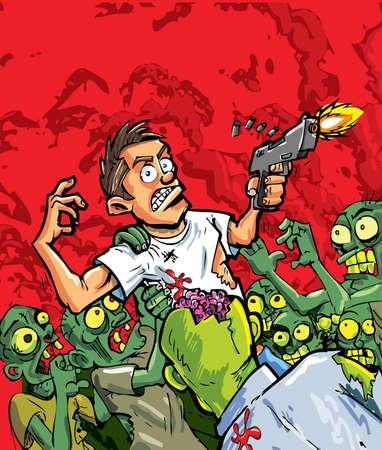 miedoso: Caricatura de zombies que atacan a un hombre con un arma. Fondo rojo Vectores