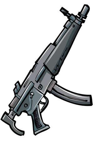 gun shell: Ilustraci�n de un rifle autom�tico. Aislado en blanco