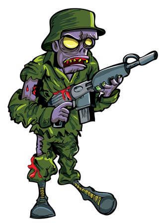 Cartoon soldado zombi con un arma de fuego aislado en blanco