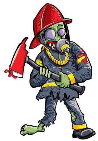 creepy monster: Zombie pompiere Cartoon con ascia isolato su bianco Vettoriali