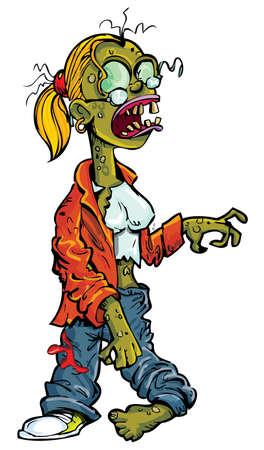 Cartoon mujer zombie con gafas aislados en blanco Ilustración de vector