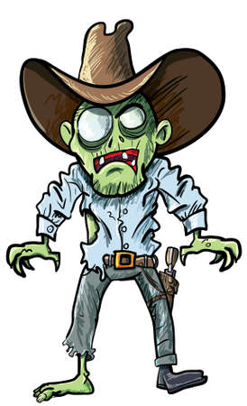 paranormal: Cartoon cowboy zombie with gun belt and hat. Isolated on white