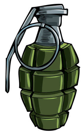 dangerous weapons: Cartoon drawing of a hand grenade. Isolated