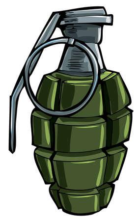 bombe: Dessin de bande dessinée d'une grenade à main. Isolé Illustration