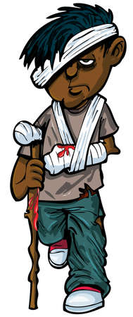 injure: Cartoon injured indian man with walking stick and bandages. Isolated