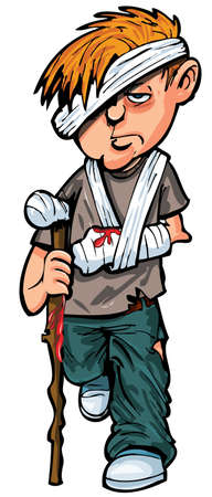 Cartoon injured man with walking stick and bandages. Isolated