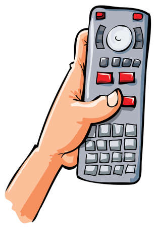 Cartoon hand holding remote contol. Isolated on white Vector