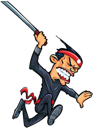 Cartoon oriental man attacking with sword. Isolated on white Vector