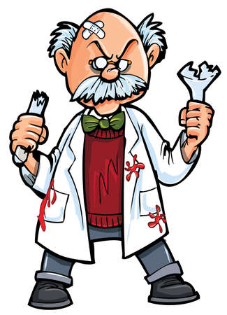 Cartoon professor with broken beakers.Isolated on white Vector