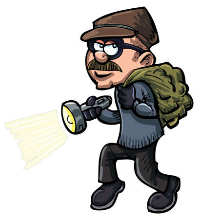 burglar: Cartoon thief with a flash light. Isolated