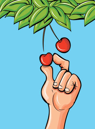 picking fruit: Cartoon hand picking a cherry of a leafy branch