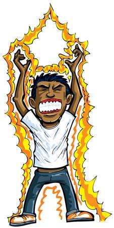 zelektryzować: Cartoon człowiek coraz energii. Pojedynczo na białym