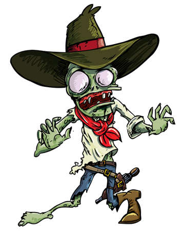 scary hand: Cartoon cowboy zombie with gun belt and hat. Isolated on white