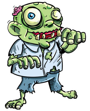 Cute green cartoon zombie. Isolated on white
