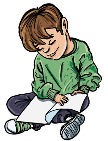 kids reading book: Cartoon of boy reading a book. Isolated