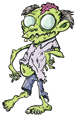 zombie: Cute green cartoon zombie. Isolated on white