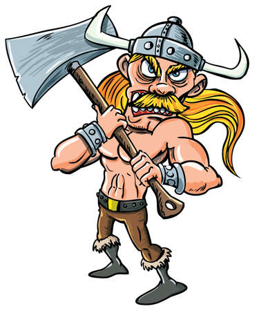 Cartoon Viking with huge axe. Isolated on white
