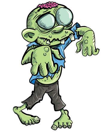 Lindo zombie verde de dibujos animados aislado en blanco Ilustración de vector